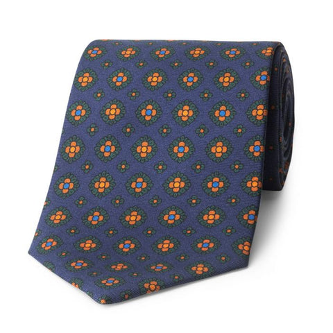 Budd Coffer Madder Silk Tie in Navy and Green-Sterling-and-Burke