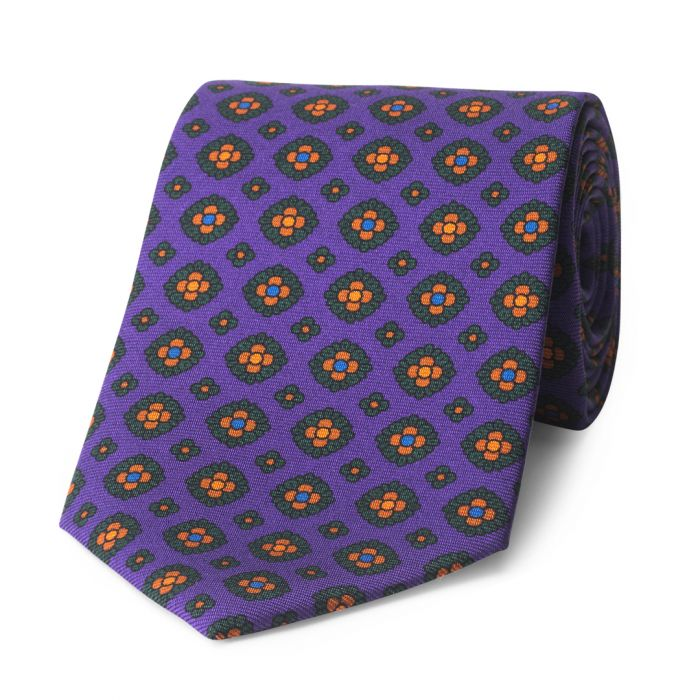 Budd Coffer Madder Silk Tie in Purple-Sterling-and-Burke