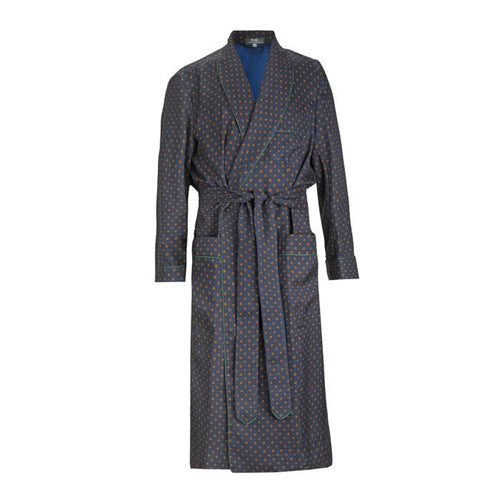 Budd Coffer Madder Silk Dressing Gown in Navy and Green-Dressing Gown-Sterling-and-Burke