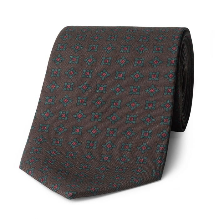 Budd Damask Madder Silk Tie in Brown-Sterling-and-Burke