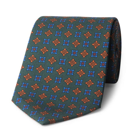 Budd Damask Madder Silk Tie in Green and Blue