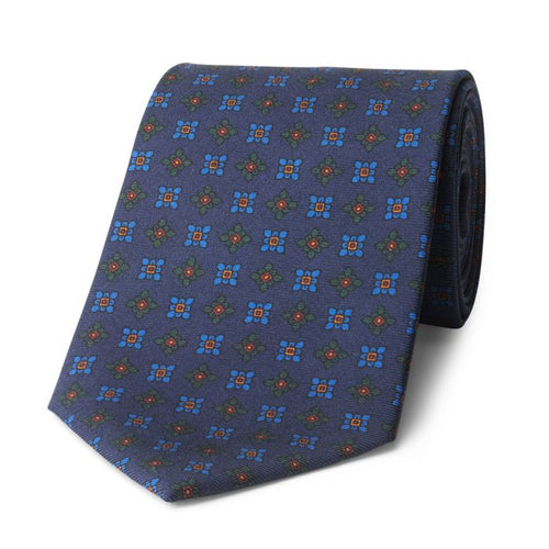 Budd Damask Madder Silk Tie in Navy and Blue-Sterling-and-Burke