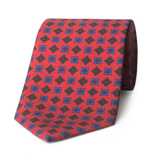 Budd Damask Madder Silk Tie in Red and Blue-Sterling-and-Burke