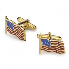 Waving American Flag Cufflinks, in Gold-Cufflinks-Sterling-and-Burke