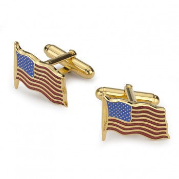 American Flag Cufflinks, Gold
