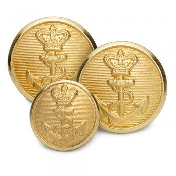 Britannia Crown & Anchor Single Blazer Button Set, Gilt