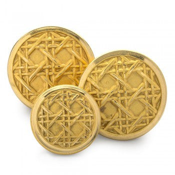 Caneweave Single Breasted Blazer Button Set, Gilt