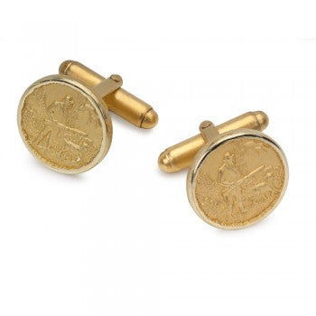 Hunting Scene Gilt T-Bar Cufflinks