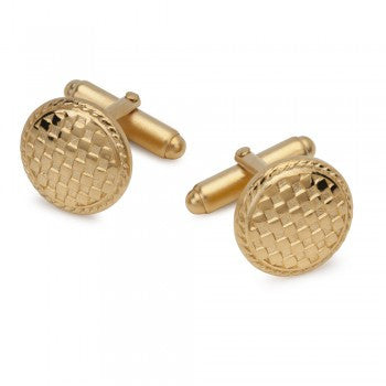 Checkerboard Gilt T-Bar Cufflinks-Cufflinks-Sterling-and-Burke