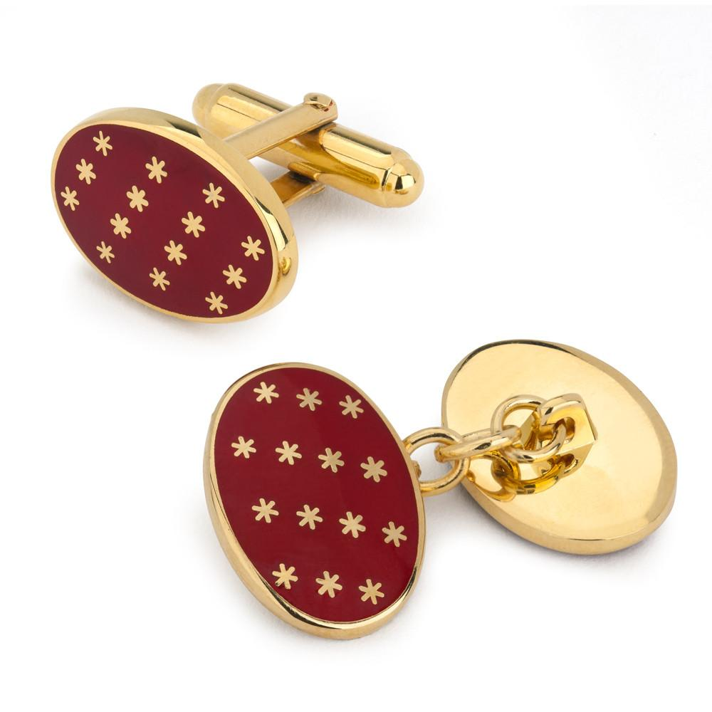 Star Cuff Links | Oval Enamel Star T-Bar Cufflinks | Red and Gold Stars | Benson and Clegg | Made in England-Enamel Cufflinks-Sterling-and-Burke