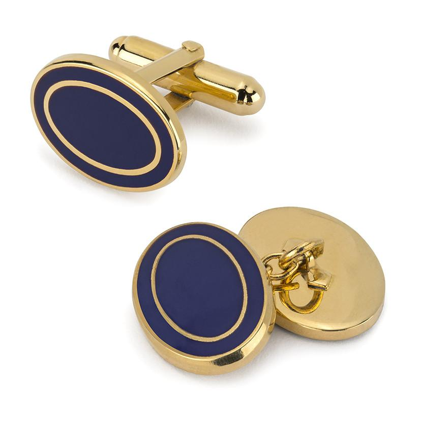 Oval Enamel T-Bar Cufflinks, Navy-Enamel Cufflinks-Sterling-and-Burke