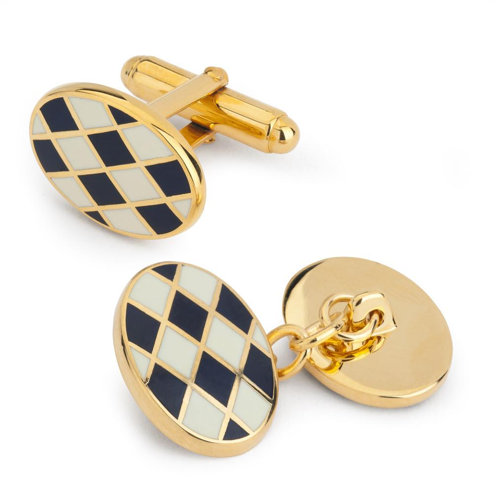 Oval Enamel White/Navy Check Cufflinks-Enamel Cufflinks-Sterling-and-Burke