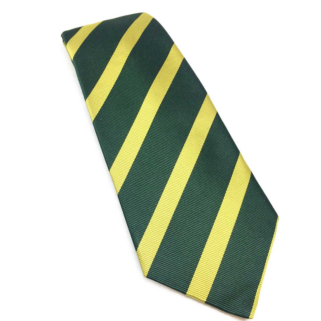 Stripe Silk Tie in Yellow & Green | Benson & Clegg | Made in England-Necktie-Sterling-and-Burke