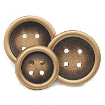 Four Hole Single Breasted Blazer Button Set, Antique Brass-Blazer Buttons-Sterling-and-Burke