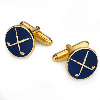 Golf Club Enamel Cufflinks, Navy-Enamel Cufflinks-Sterling-and-Burke