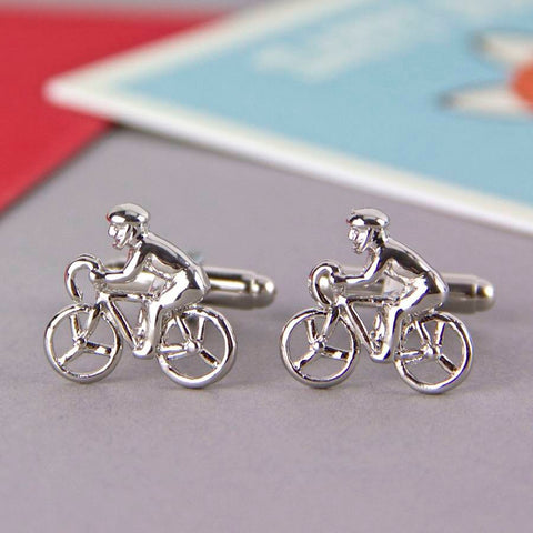 Novelty Cufflinks | Bike Rider Cufflinks | Silver | Sterling and Burke | Made in USA