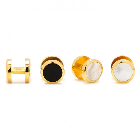 Double Sided Onyx and Mother of Pearl Stud Set, Gold-Cufflinks and Stud Sets-Sterling-and-Burke