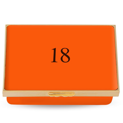 Monogrammed Rectangle Enamel Box | Contemporary Ivory or Orange Box | Halcyon Days | Made in England
