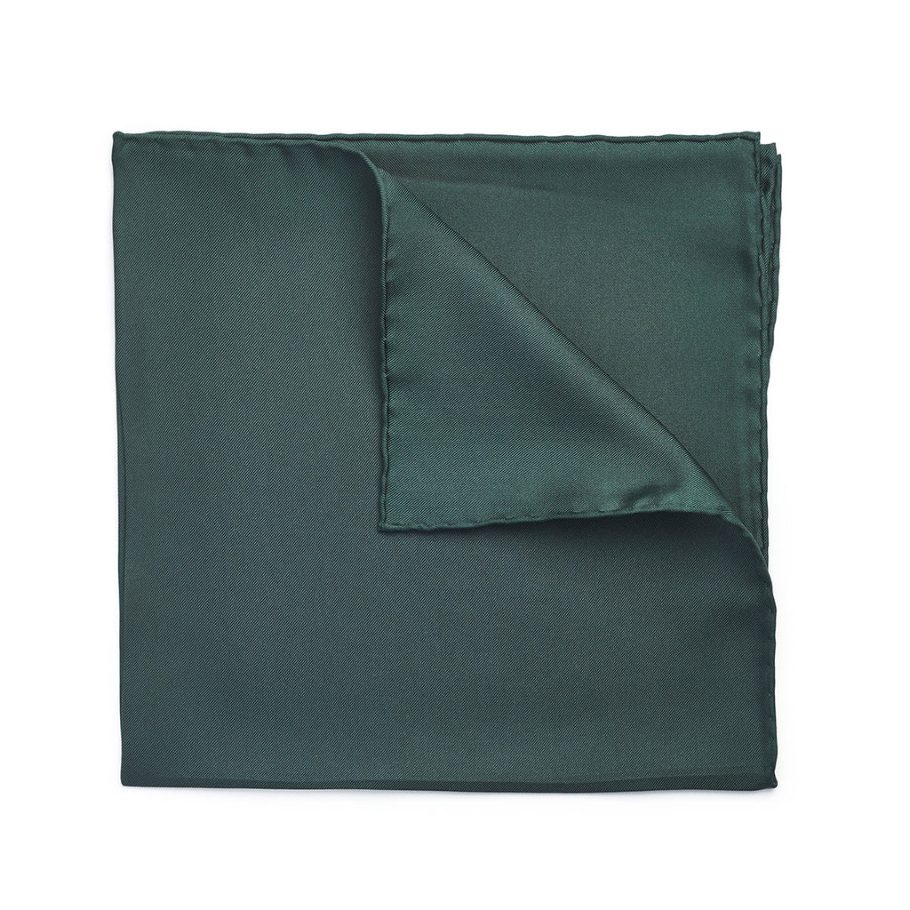 Budd Plain Silk Hand Rolled Pocket Square in Bottle Green-Pocket Square-Sterling-and-Burke
