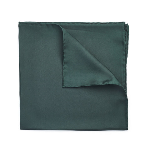 Budd Plain Silk Hand Rolled Pocket Square in Bottle Green
