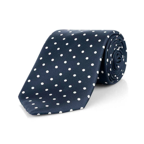 Medium Spot Foulard Neck Tie | Navy and White Silk | Made in England by Budd Shirts