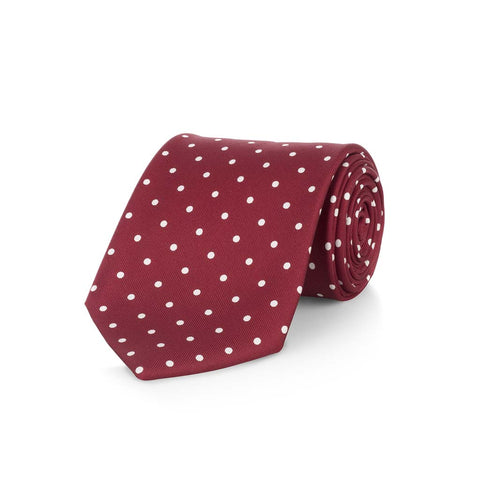 Medium Spot Foulard Neck Tie | Burgundy Wine and White Silk | Made in England by Budd Shirts-Necktie-Sterling-and-Burke