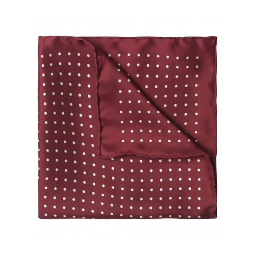 Budd Medium Spot Pocket Square in Wine and Old White-Pocket Square-Sterling-and-Burke