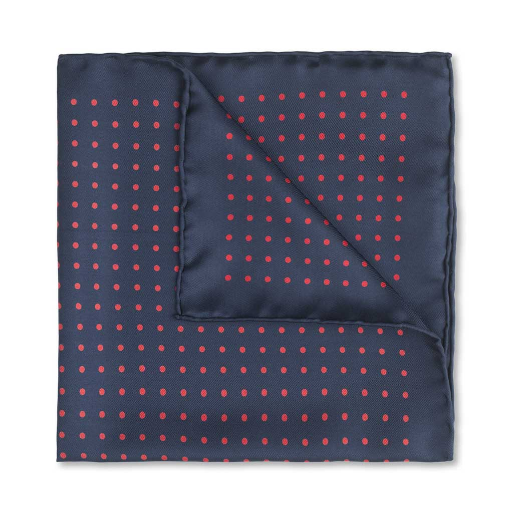 Medium Spot Pocket Square, Navy and Red | Made in England by Budd Shirtmakers-Pocket Square-Sterling-and-Burke