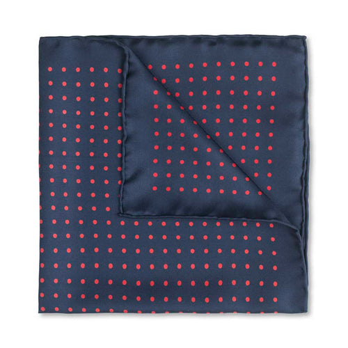 Budd Medium Spot Pocket Square in Navy and Red-Pocket Square-Sterling-and-Burke