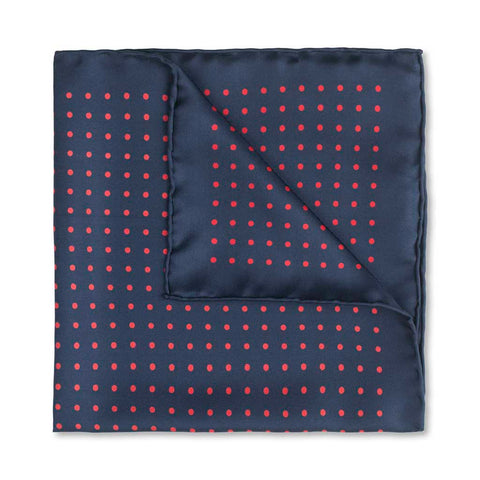 Budd Pocket Square | Medium Spot Pocket Square | Navy / Red | Made in England | Budd Shirtmakers | Made in England