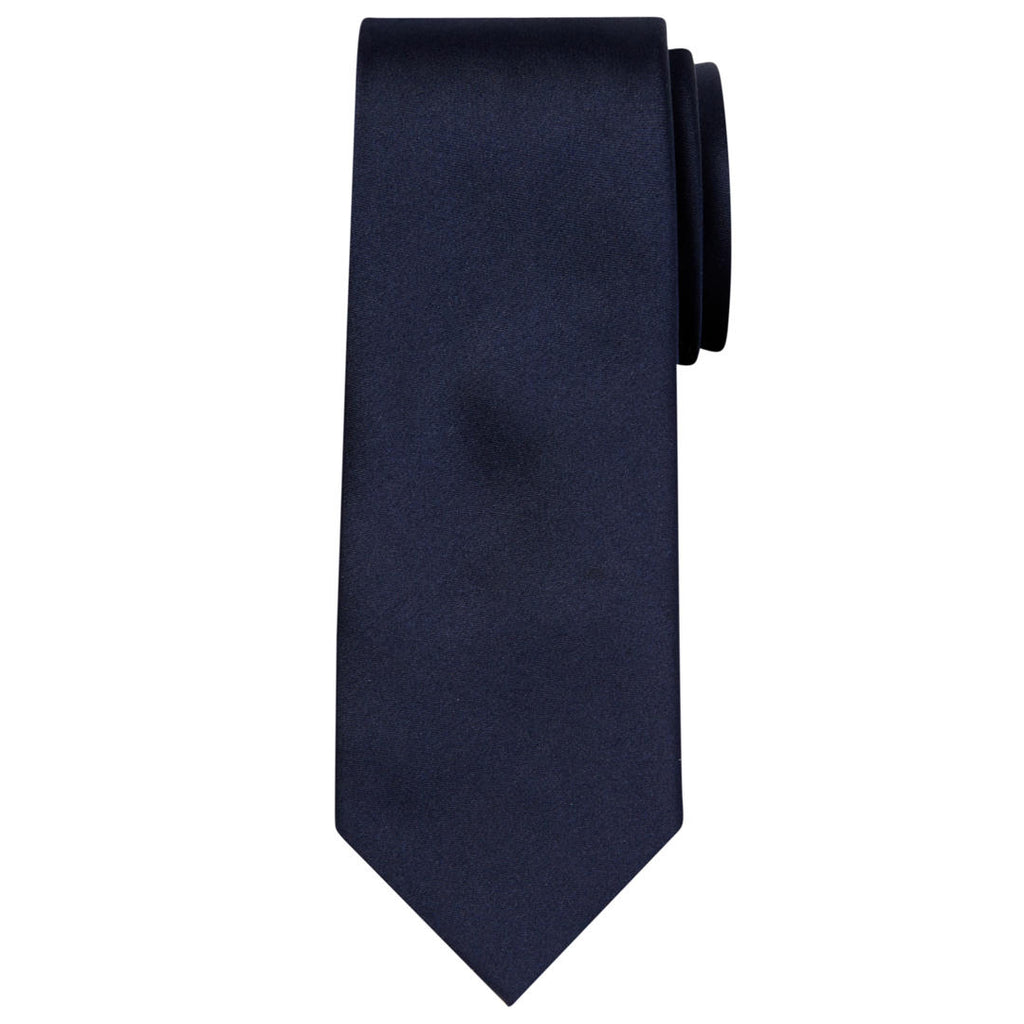 Budd Plain Barathea Silk Tie in Midnight-Necktie-Sterling-and-Burke