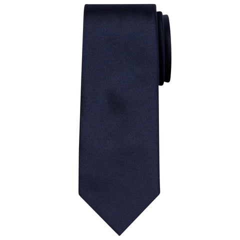 Budd Plain Barathea Silk Tie in Midnight