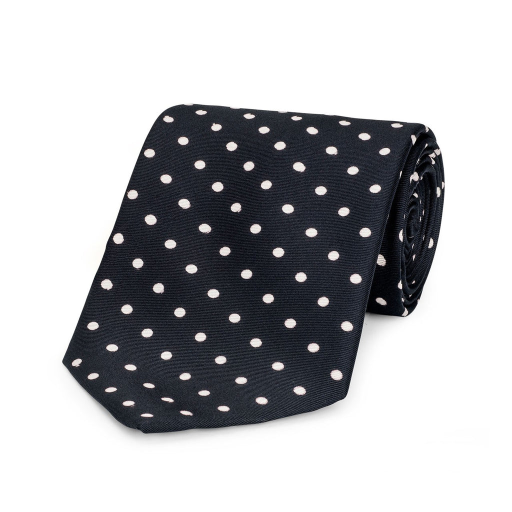 Medium Spot Foulard Neck Tie | Black and White Silk | Made in England by Budd Shirts-Necktie-Sterling-and-Burke