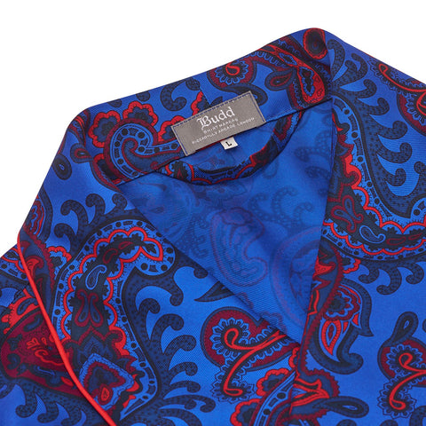 Budd Sleepwear | Exclusive Budd Paisley Dressing Gown | 36oz Silk Dressing Gown | Blue | Budd Shirtmakers | Made in England-Dressing Gown-Sterling-and-Burke