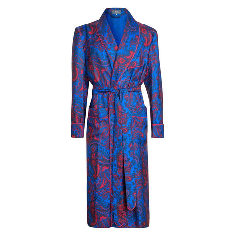 Budd Exclusive Paisley 36oz Silk Dressing Gown in Blue-Dressing Gown-Sterling-and-Burke