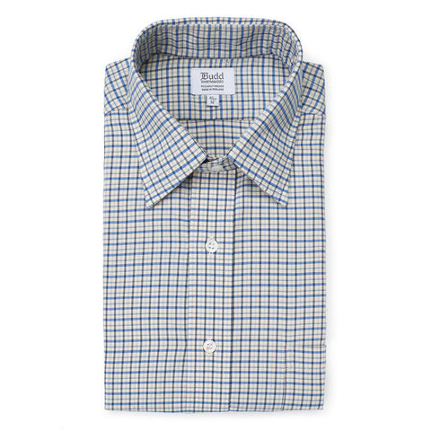 Budd Classic Fit Fife Check Brushed Cotton Button Cuff Shirt in Blue