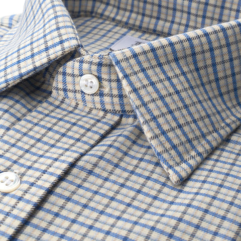 Ready Made Shirt | Alumo Brushed Cotton | Fine Check | Blue | Budd Shirtmakers-Ready Made Shirt-Sterling-and-Burke