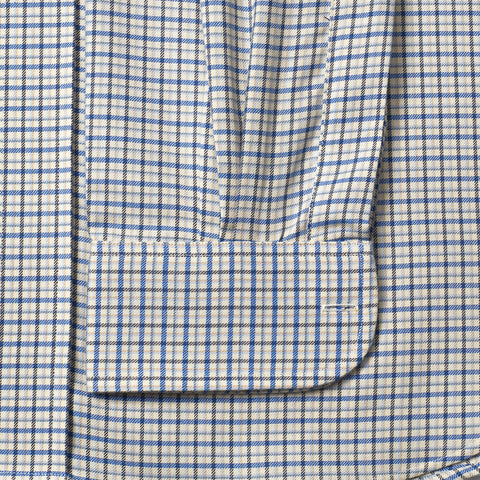 Budd Classic Fit Fife Check Brushed Cotton Button Cuff Shirt in Blue-Ready Made Shirt-Sterling-and-Burke