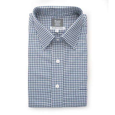 Budd Classic Fit Small Gingham Brushed Cotton Button Cuff Shirt in Blue