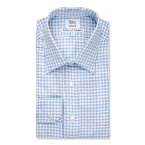 Budd Classic Fit Block Check Cotton & Cashmere Button Cuff Shirt in Sky Blue