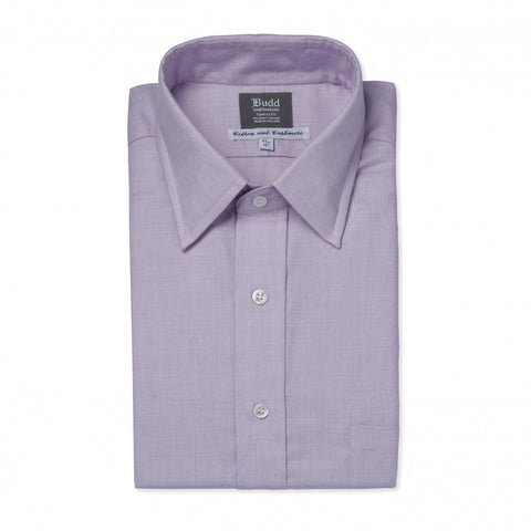 Budd Classic Fit Small Herringbone Cotton & Cashmere Button Cuff Shirt in Lilac