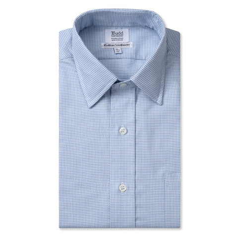 Budd Classic Fit Puppytooth Check Cotton & Cashmere Button Cuff Shirt in Sky Blue