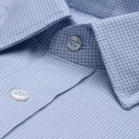 Budd Classic Fit Puppytooth Check Cotton & Cashmere Button Cuff Shirt in Sky Blue-Ready Made Shirt-Sterling-and-Burke