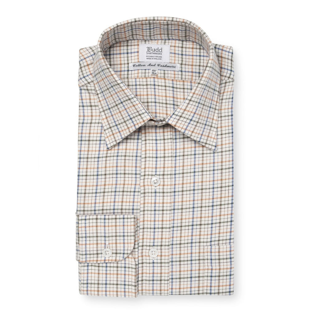 Ready Made Shirt | Alumo Cotton/Cashmere | Rural Check | Green | Budd Shirtmakers-Ready Made Shirt-Sterling-and-Burke