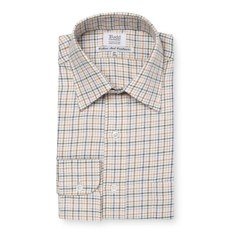 Budd Classic Fit Rural Check Cotton & Cashmere Button Cuff Shirt in Green