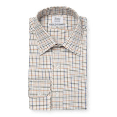 Budd Classic Fit Rural Check Cotton & Cashmere Button Cuff Shirt in Green-Ready Made Shirt-Sterling-and-Burke
