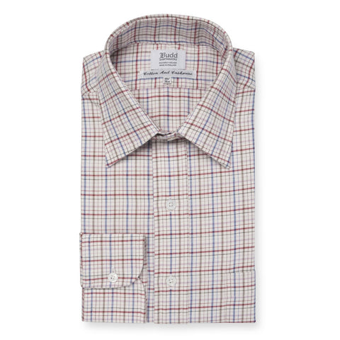 Budd Classic Fit Rural Check Cotton & Cashmere Button Cuff Shirt in Pink