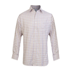Budd Classic Fit Rural Check Cotton & Cashmere Button Cuff Shirt in Pink-Ready Made Shirt-Sterling-and-Burke
