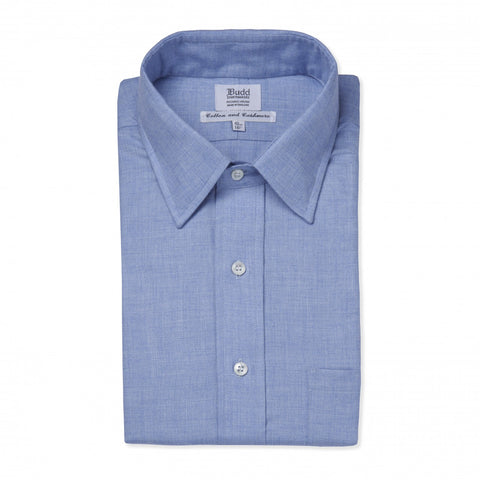 Budd Classic Fit Small Herringbone Cotton & Cashmere Button Cuff Shirt in Blue