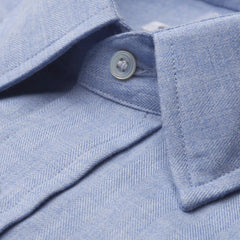 Budd Classic Fit Small Herringbone Cotton & Cashmere Button Cuff Shirt in Blue-Ready Made Shirt-Sterling-and-Burke